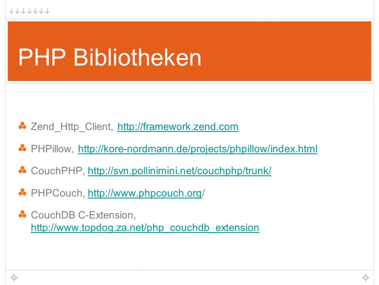 15 PHP Bibliotheken Zend_Http_Client, http://framework.zend.comhttp://framework.zend.com PHPillow, http://kore-nordmann.de/projects/phpillow/index.htmlhttp://kore-nordmann.de/projects/phpillow/index.html CouchPHP, http://svn.pollinimini.net/couchphp/trunk/http://svn.pollinimini.net/couchphp/trunk/ PHPCouch, http://www.phpcouch.org/http://www.phpcouch.org CouchDB C-Extension, http://www.topdog.za.net/php_couchdb_extension http://www.topdog.za.net/php_couchdb_extension