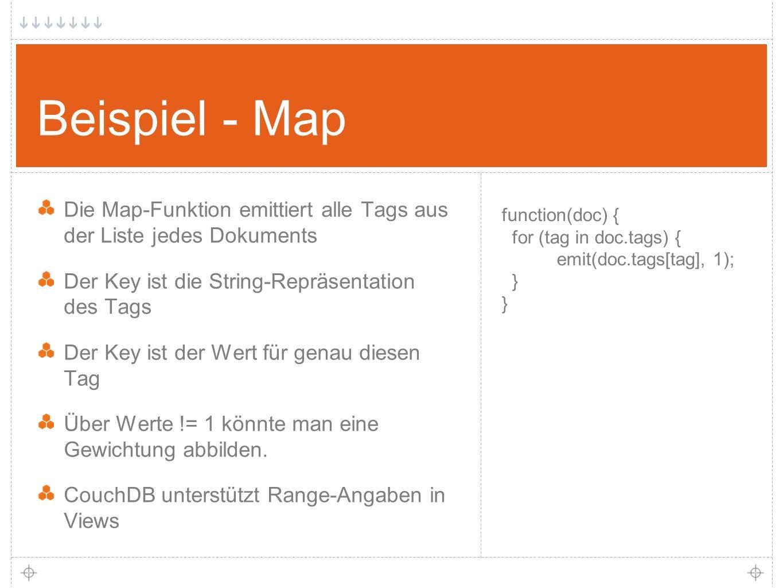 19 Beispiel - Map Die Map-Funktion emittiert alle Tags aus der Liste jedes Dokuments Der Key ist die String-Repräsentation des Tags Der Key ist der Wert für genau diesen Tag Über Werte != 1 könnte man eine Gewichtung abbilden.