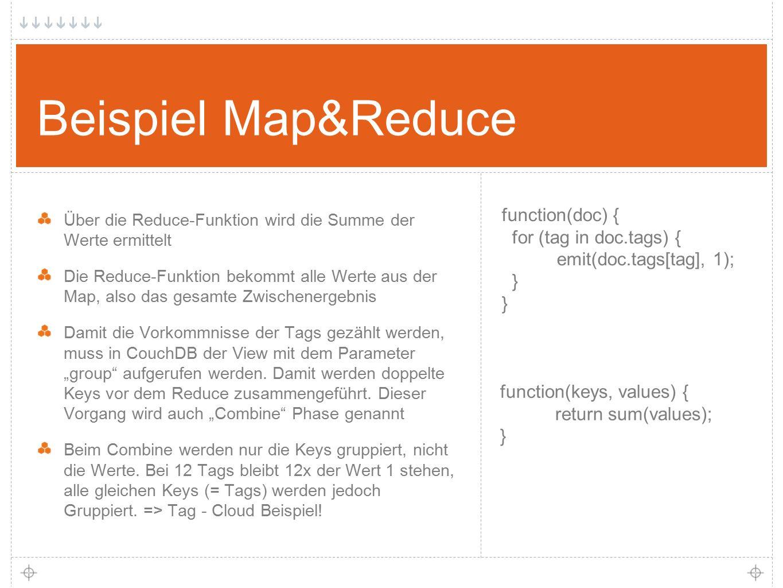 """20 Beispiel Map&Reduce Über die Reduce-Funktion wird die Summe der Werte ermittelt Die Reduce-Funktion bekommt alle Werte aus der Map, also das gesamte Zwischenergebnis Damit die Vorkommnisse der Tags gezählt werden, muss in CouchDB der View mit dem Parameter """"group aufgerufen werden."""