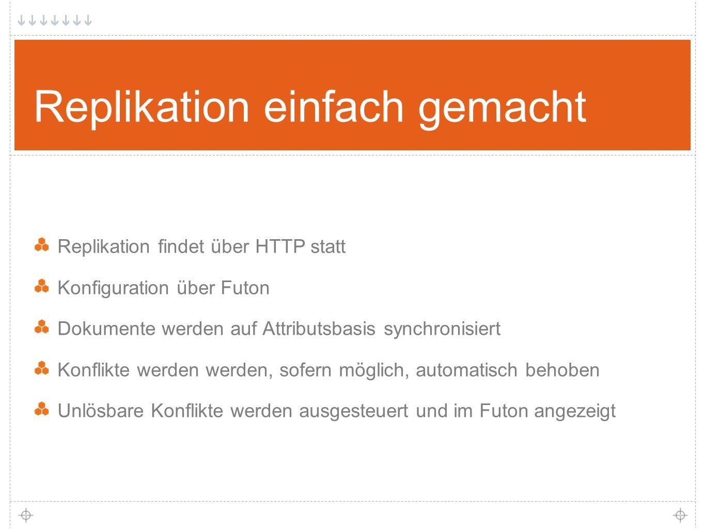 23 Replikation einfach gemacht Replikation findet über HTTP statt Konfiguration über Futon Dokumente werden auf Attributsbasis synchronisiert Konflikte werden werden, sofern möglich, automatisch behoben Unlösbare Konflikte werden ausgesteuert und im Futon angezeigt