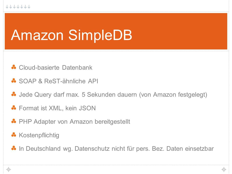 30 Amazon SimpleDB Cloud-basierte Datenbank SOAP & ReST-ähnliche API Jede Query darf max.