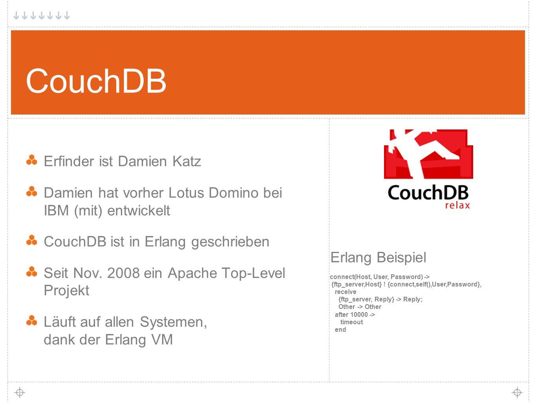 8 Erfinder ist Damien Katz Damien hat vorher Lotus Domino bei IBM (mit) entwickelt CouchDB ist in Erlang geschrieben Seit Nov.