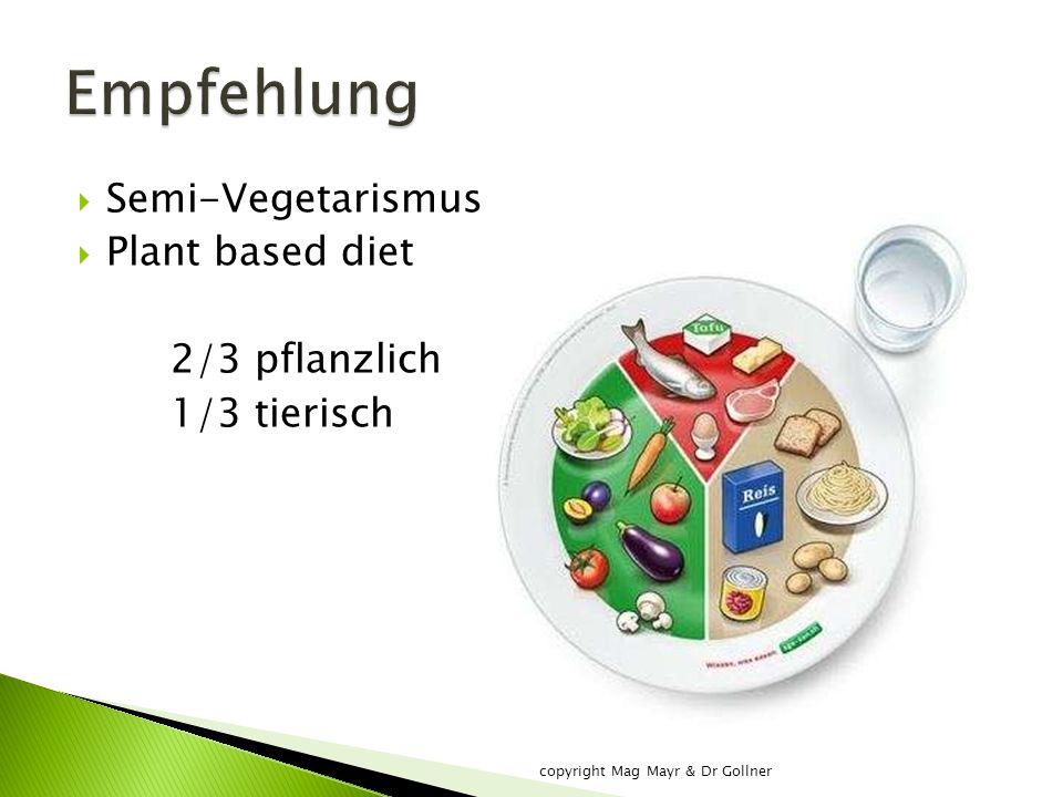  Semi-Vegetarismus  Plant based diet 2/3 pflanzlich 1/3 tierisch copyright Mag Mayr & Dr Gollner