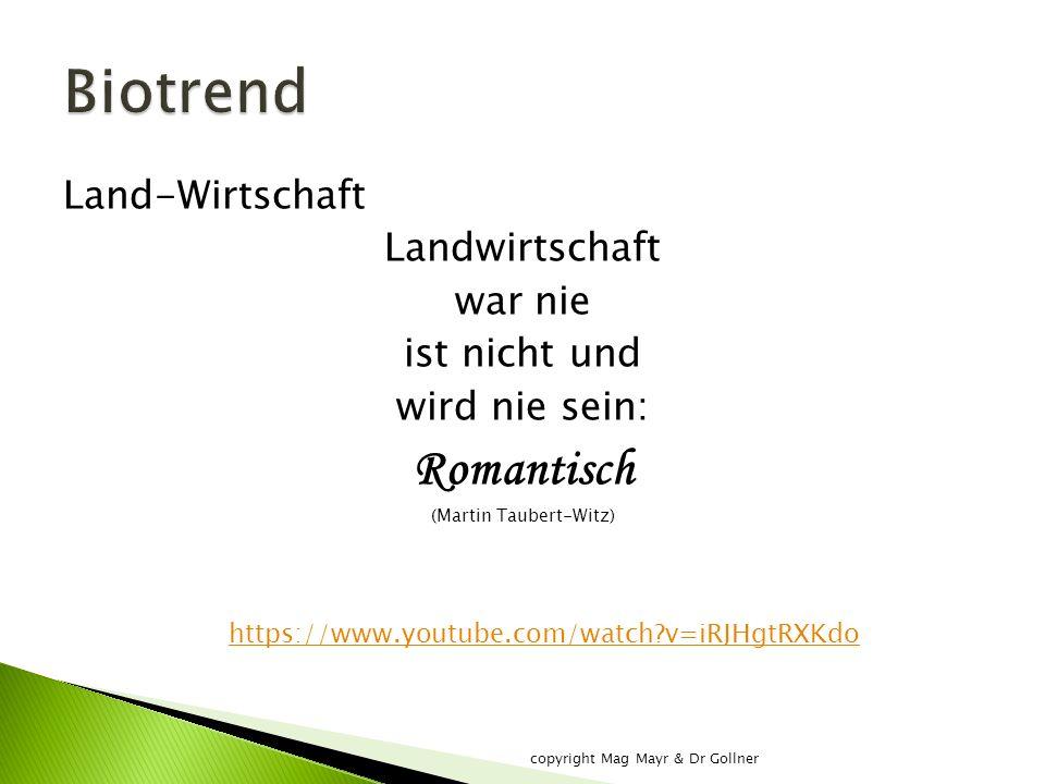Land-Wirtschaft Landwirtschaft war nie ist nicht und wird nie sein: Romantisch (Martin Taubert-Witz) https://www.youtube.com/watch v=iRJHgtRXKdo copyright Mag Mayr & Dr Gollner