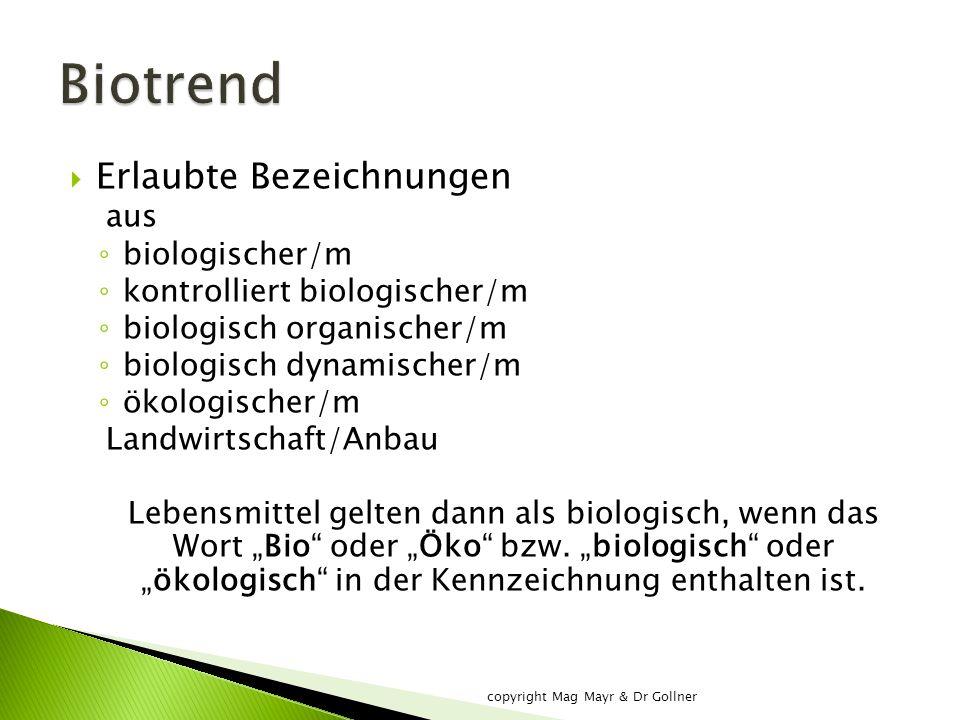 """ Erlaubte Bezeichnungen aus ◦ biologischer/m ◦ kontrolliert biologischer/m ◦ biologisch organischer/m ◦ biologisch dynamischer/m ◦ ökologischer/m Landwirtschaft/Anbau Lebensmittel gelten dann als biologisch, wenn das Wort """"Bio oder """"Öko bzw."""