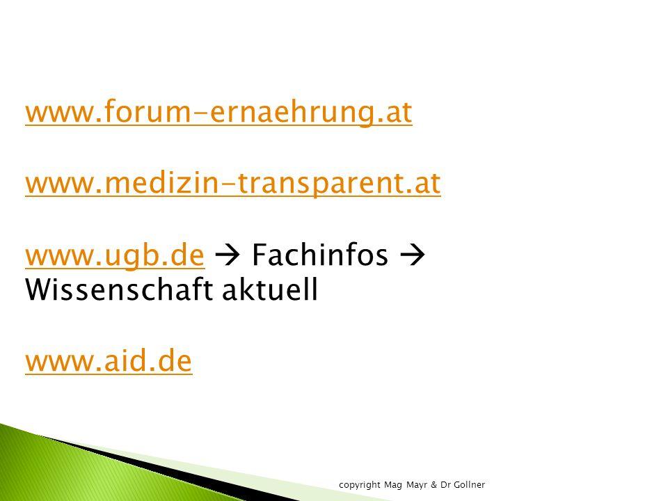 www.forum-ernaehrung.at www.medizin-transparent.at www.ugb.dewww.ugb.de  Fachinfos  Wissenschaft aktuell www.aid.de copyright Mag Mayr & Dr Gollner
