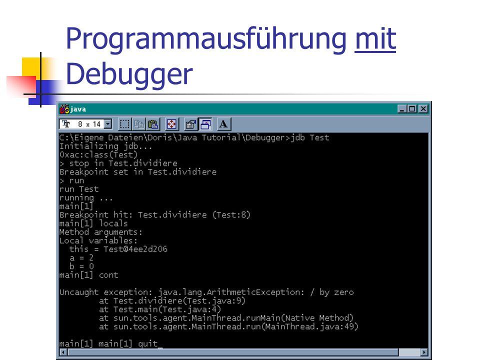 Programmausführung mit Debugger