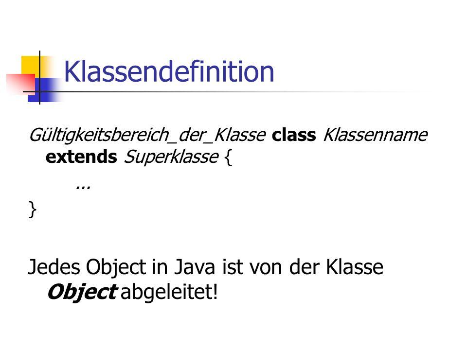 Klassendefinition Gültigkeitsbereich_der_Klasse class Klassenname extends Superklasse {...