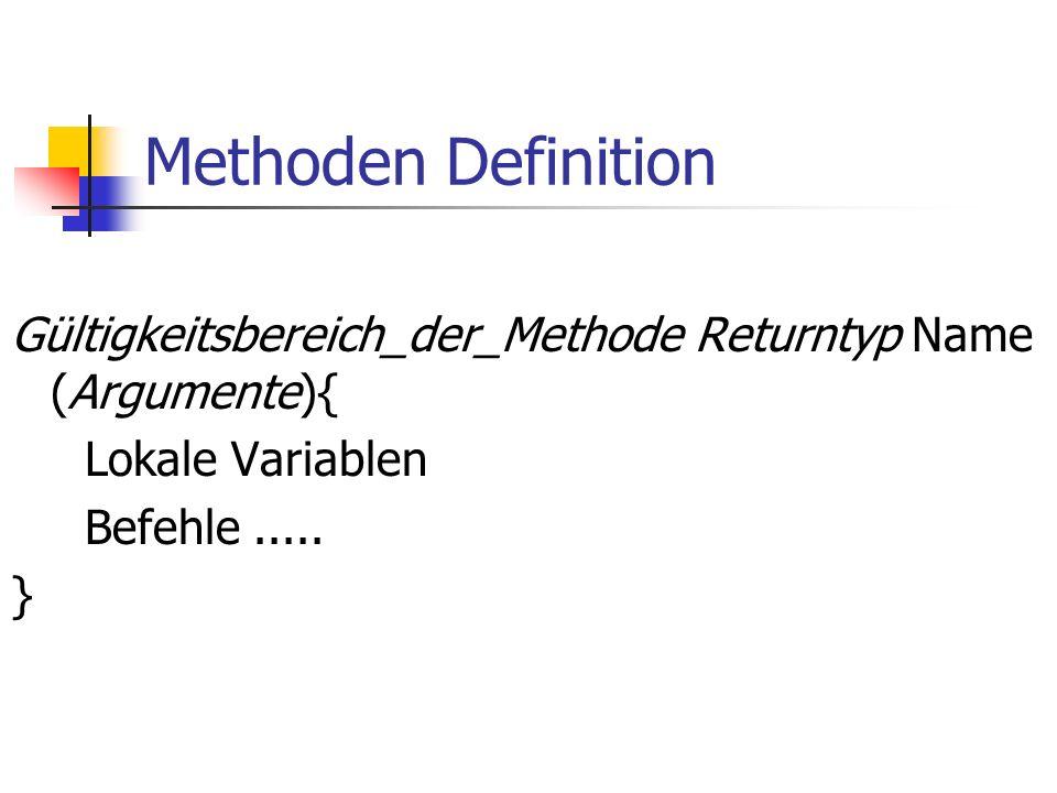 Methoden Definition Gültigkeitsbereich_der_Methode Returntyp Name (Argumente){ Lokale Variablen Befehle.....
