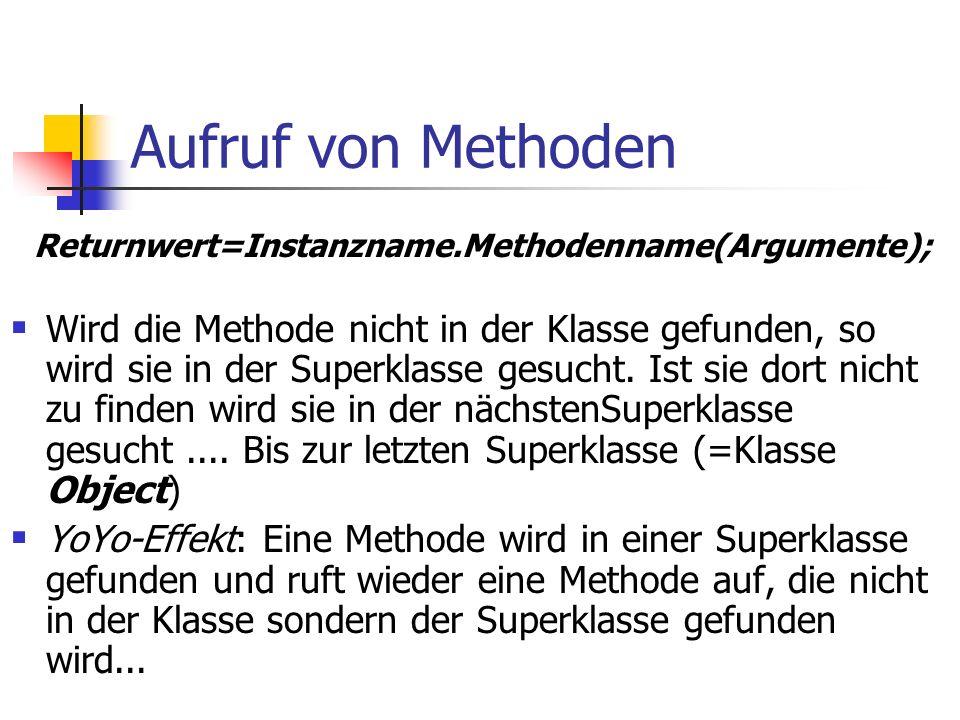 Aufruf von Methoden  Wird die Methode nicht in der Klasse gefunden, so wird sie in der Superklasse gesucht.