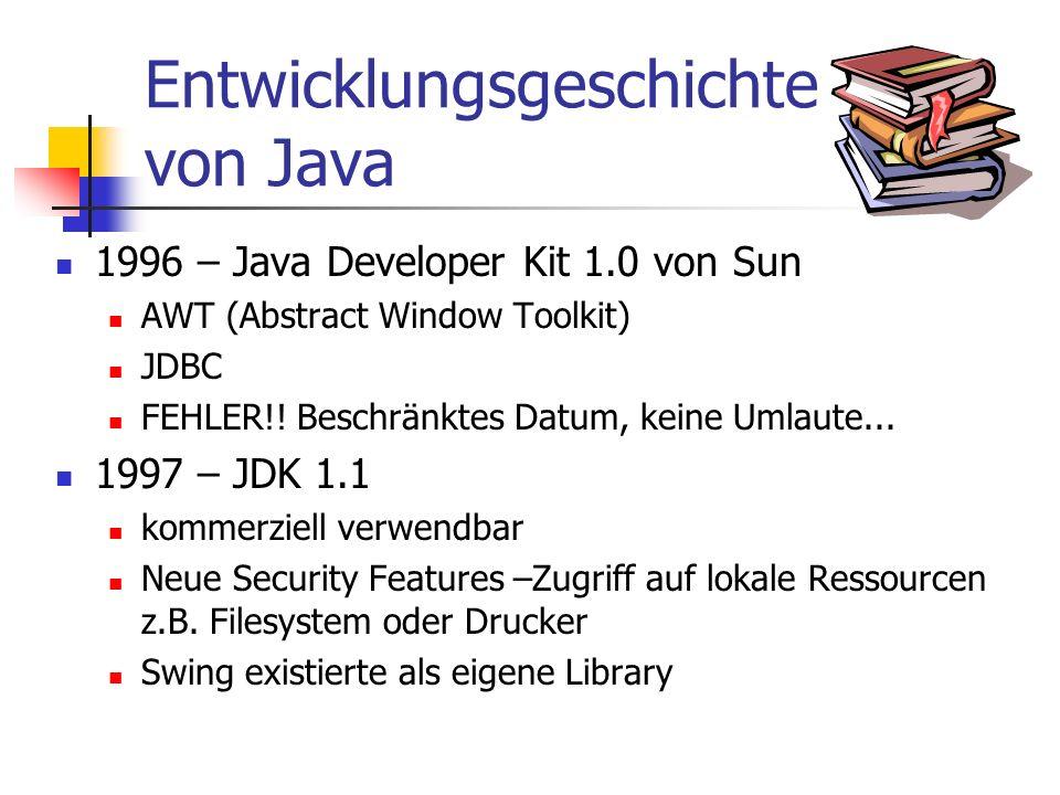 Entwicklungsgeschichte von Java 1996 – Java Developer Kit 1.0 von Sun AWT (Abstract Window Toolkit) JDBC FEHLER!.