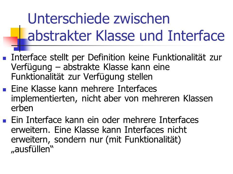 Unterschiede zwischen abstrakter Klasse und Interface Interface stellt per Definition keine Funktionalität zur Verfügung – abstrakte Klasse kann eine Funktionalität zur Verfügung stellen Eine Klasse kann mehrere Interfaces implementierten, nicht aber von mehreren Klassen erben Ein Interface kann ein oder mehrere Interfaces erweitern.