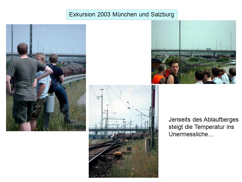 Exkursion 2003 München und Salzburg Jenseits des Ablaufberges steigt die Temperatur ins Unermessliche…