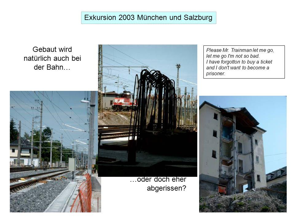 Exkursion 2003 München und Salzburg Gebaut wird natürlich auch bei der Bahn… …oder doch eher abgerissen.