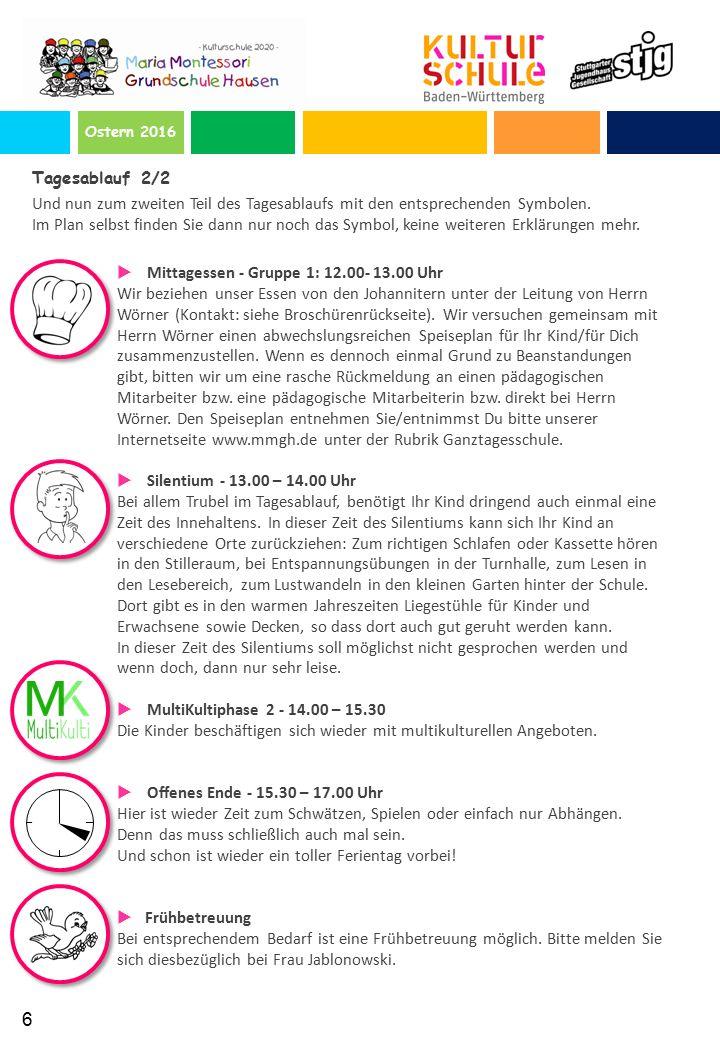 Ostern 2016 Tagesablauf 2/2 Und nun zum zweiten Teil des Tagesablaufs mit den entsprechenden Symbolen.