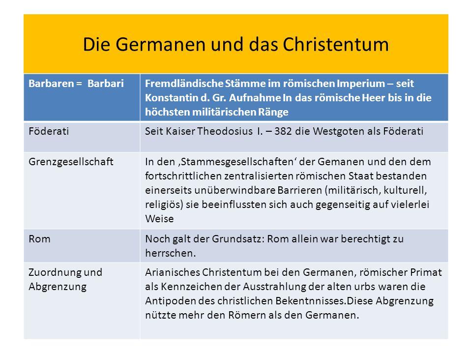 Die Germanen und das Christentum Barbaren = BarbariFremdländische Stämme im römischen Imperium – seit Konstantin d.