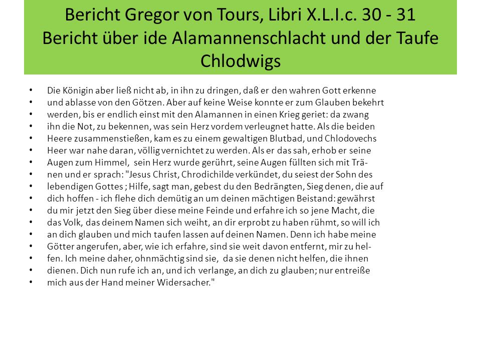Bericht Gregor von Tours, Libri X.L.I.c.