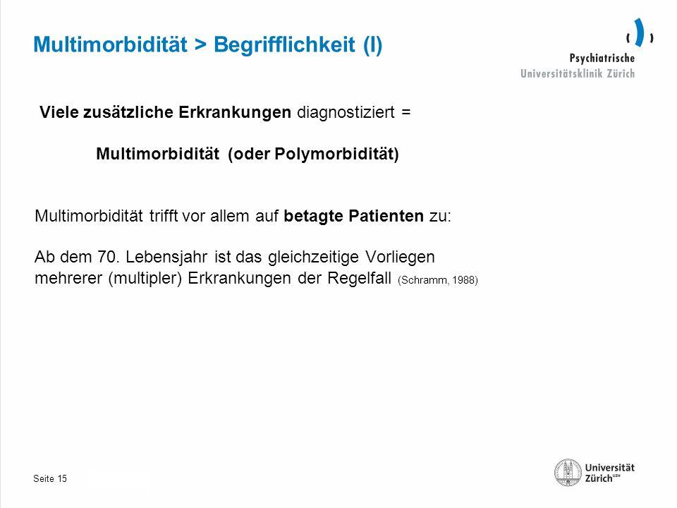 Seite 30.10.2013 Multimorbidität > Begrifflichkeit (I) Viele zusätzliche Erkrankungen diagnostiziert = Multimorbidität (oder Polymorbidität) Multimorbidität trifft vor allem auf betagte Patienten zu: Ab dem 70.