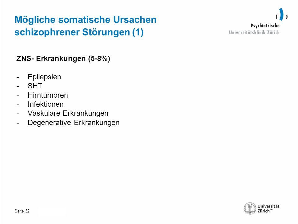 Seite 30.10.2013 Mögliche somatische Ursachen schizophrener Störungen (1) ZNS- Erkrankungen (5-8%) -Epilepsien -SHT -Hirntumoren -Infektionen -Vaskuläre Erkrankungen -Degenerative Erkrankungen 32