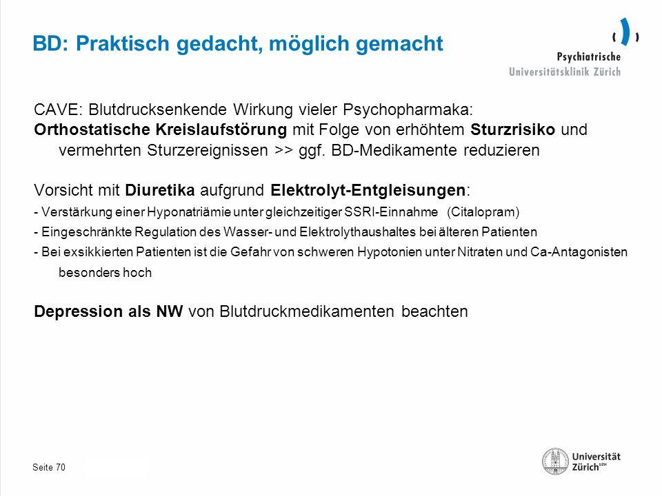 Seite 30.10.2013 BD: Praktisch gedacht, möglich gemacht CAVE: Blutdrucksenkende Wirkung vieler Psychopharmaka: Orthostatische Kreislaufstörung mit Folge von erhöhtem Sturzrisiko und vermehrten Sturzereignissen >> ggf.
