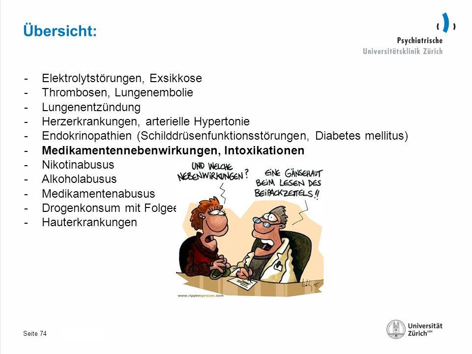 Seite 30.10.2013 Übersicht: -Elektrolytstörungen, Exsikkose -Thrombosen, Lungenembolie -Lungenentzündung -Herzerkrankungen, arterielle Hypertonie -Endokrinopathien (Schilddrüsenfunktionsstörungen, Diabetes mellitus) -Medikamentennebenwirkungen, Intoxikationen -Nikotinabusus -Alkoholabusus -Medikamentenabusus -Drogenkonsum mit Folgeerkrankungen -Hauterkrankungen 74
