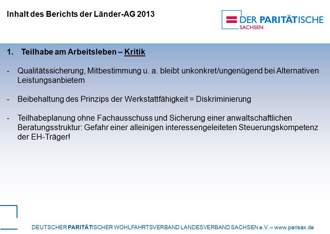 Inhalt des Berichts der Länder-AG 2013 1.Teilhabe am Arbeitsleben – Kritik -Qualitätssicherung, Mitbestimmung u.