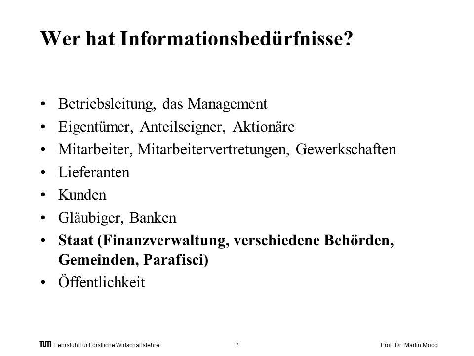 Prof. Dr. Martin Moog7 Lehrstuhl für Forstliche Wirtschaftslehre Wer hat Informationsbedürfnisse.