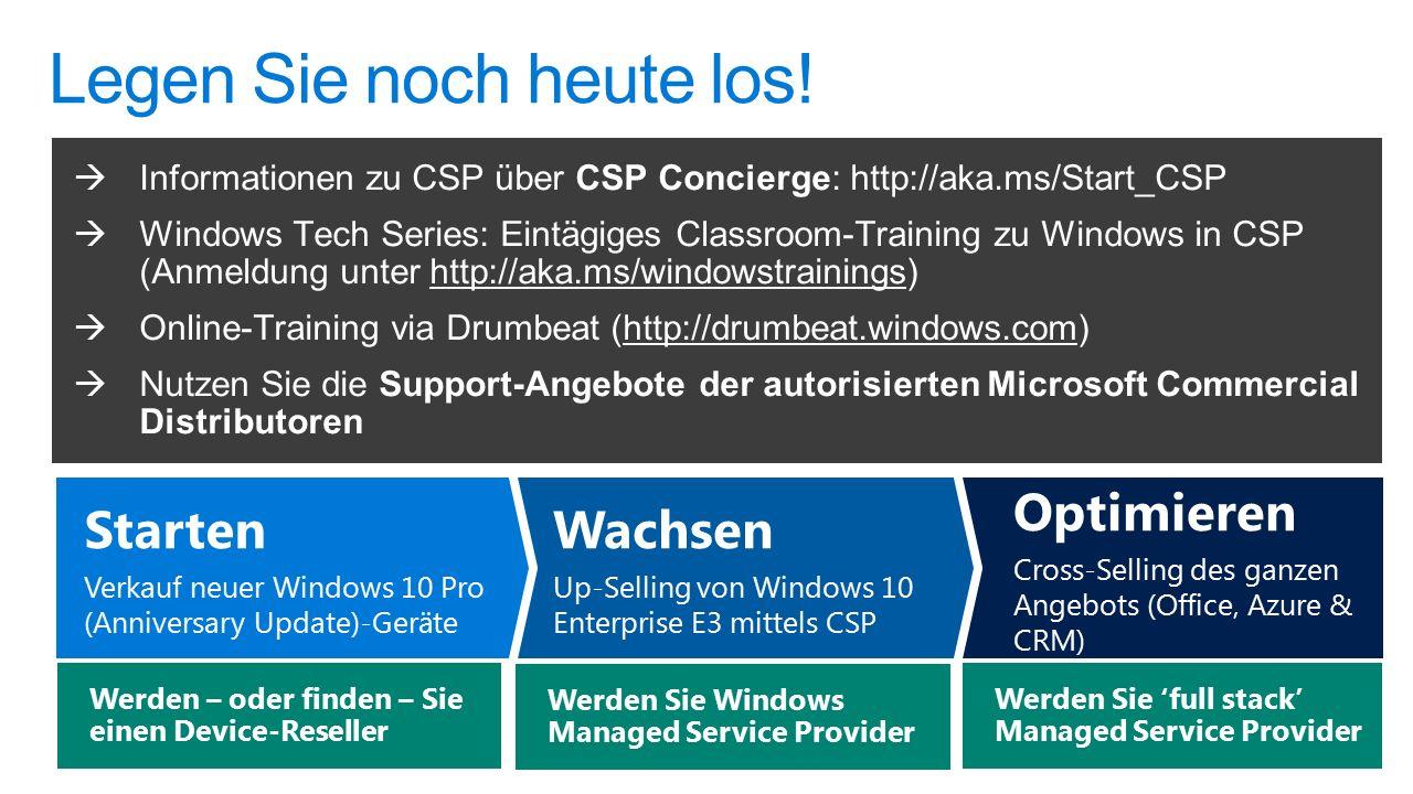 Optimieren Cross-Selling des ganzen Angebots (Office, Azure & CRM) Wachsen Up-Selling von Windows 10 Enterprise E3 mittels CSP Starten Verkauf neuer Windows 10 Pro (Anniversary Update)-Geräte Werden Sie 'full stack' Managed Service Provider Werden Sie Windows Managed Service Provider Werden – oder finden – Sie einen Device-Reseller