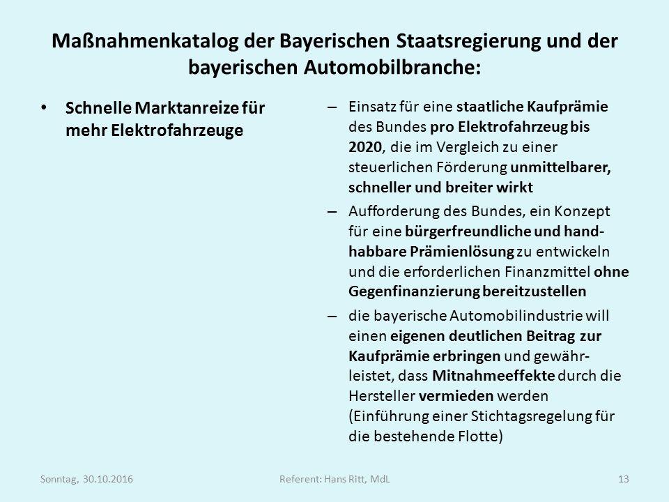 Maßnahmenkatalog der Bayerischen Staatsregierung und der bayerischen Automobilbranche: Schnelle Marktanreize für mehr Elektrofahrzeuge – Einsatz für eine staatliche Kaufprämie des Bundes pro Elektrofahrzeug bis 2020, die im Vergleich zu einer steuerlichen Förderung unmittelbarer, schneller und breiter wirkt – Aufforderung des Bundes, ein Konzept für eine bürgerfreundliche und hand- habbare Prämienlösung zu entwickeln und die erforderlichen Finanzmittel ohne Gegenfinanzierung bereitzustellen – die bayerische Automobilindustrie will einen eigenen deutlichen Beitrag zur Kaufprämie erbringen und gewähr- leistet, dass Mitnahmeeffekte durch die Hersteller vermieden werden (Einführung einer Stichtagsregelung für die bestehende Flotte) Sonntag, 30.10.2016Referent: Hans Ritt, MdL13