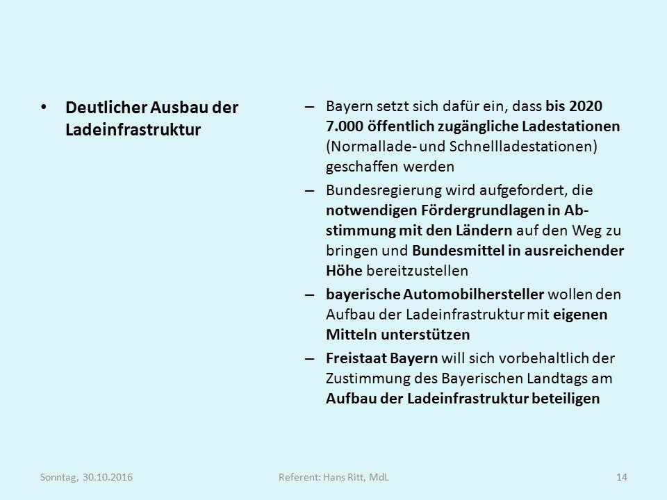 Deutlicher Ausbau der Ladeinfrastruktur – Bayern setzt sich dafür ein, dass bis 2020 7.000 öffentlich zugängliche Ladestationen (Normallade- und Schnellladestationen) geschaffen werden – Bundesregierung wird aufgefordert, die notwendigen Fördergrundlagen in Ab- stimmung mit den Ländern auf den Weg zu bringen und Bundesmittel in ausreichender Höhe bereitzustellen – bayerische Automobilhersteller wollen den Aufbau der Ladeinfrastruktur mit eigenen Mitteln unterstützen – Freistaat Bayern will sich vorbehaltlich der Zustimmung des Bayerischen Landtags am Aufbau der Ladeinfrastruktur beteiligen Sonntag, 30.10.2016Referent: Hans Ritt, MdL14