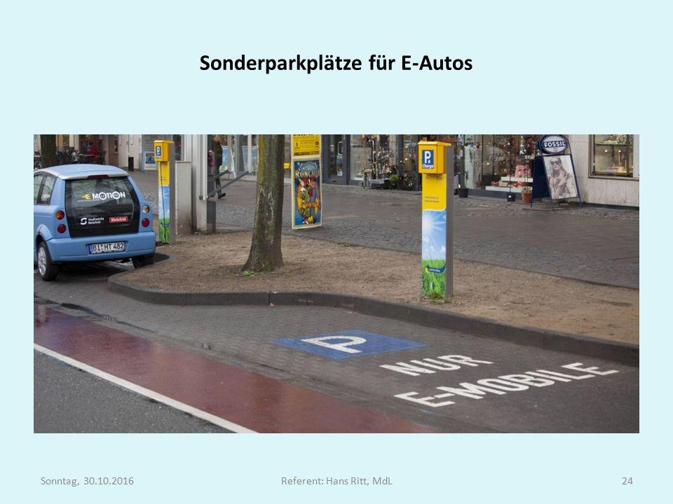 Sonderparkplätze für E-Autos Sonntag, 30.10.2016Referent: Hans Ritt, MdL24