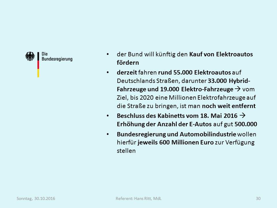 der Bund will künftig den Kauf von Elektroautos fördern derzeit fahren rund 55.000 Elektroautos auf Deutschlands Straßen, darunter 33.000 Hybrid- Fahrzeuge und 19.000 Elektro-Fahrzeuge  vom Ziel, bis 2020 eine Millionen Elektrofahrzeuge auf die Straße zu bringen, ist man noch weit entfernt Beschluss des Kabinetts vom 18.