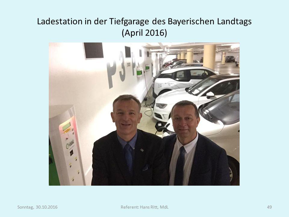 Ladestation in der Tiefgarage des Bayerischen Landtags (April 2016) Sonntag, 30.10.2016Referent: Hans Ritt, MdL49