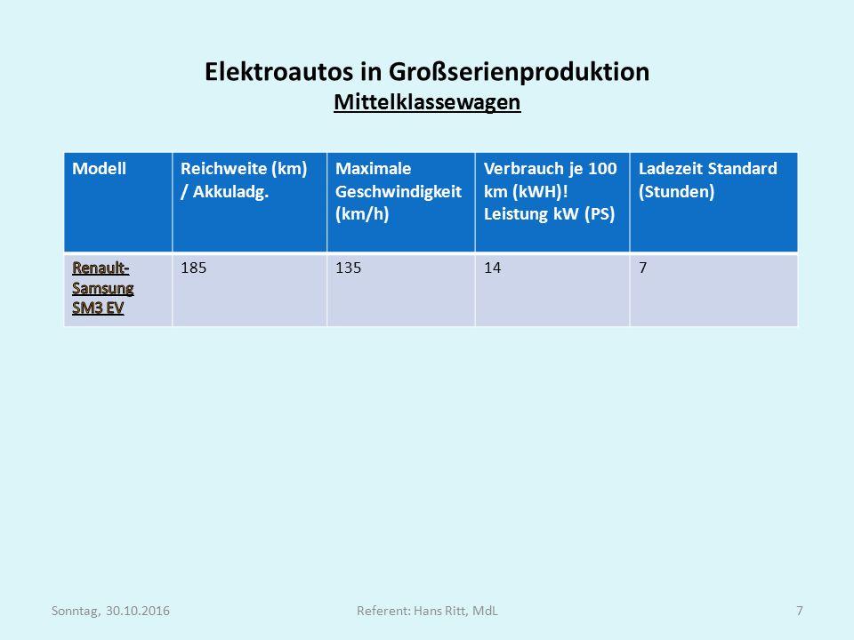 Elektroautos in Großserienproduktion Mittelklassewagen ModellReichweite (km) / Akkuladg.