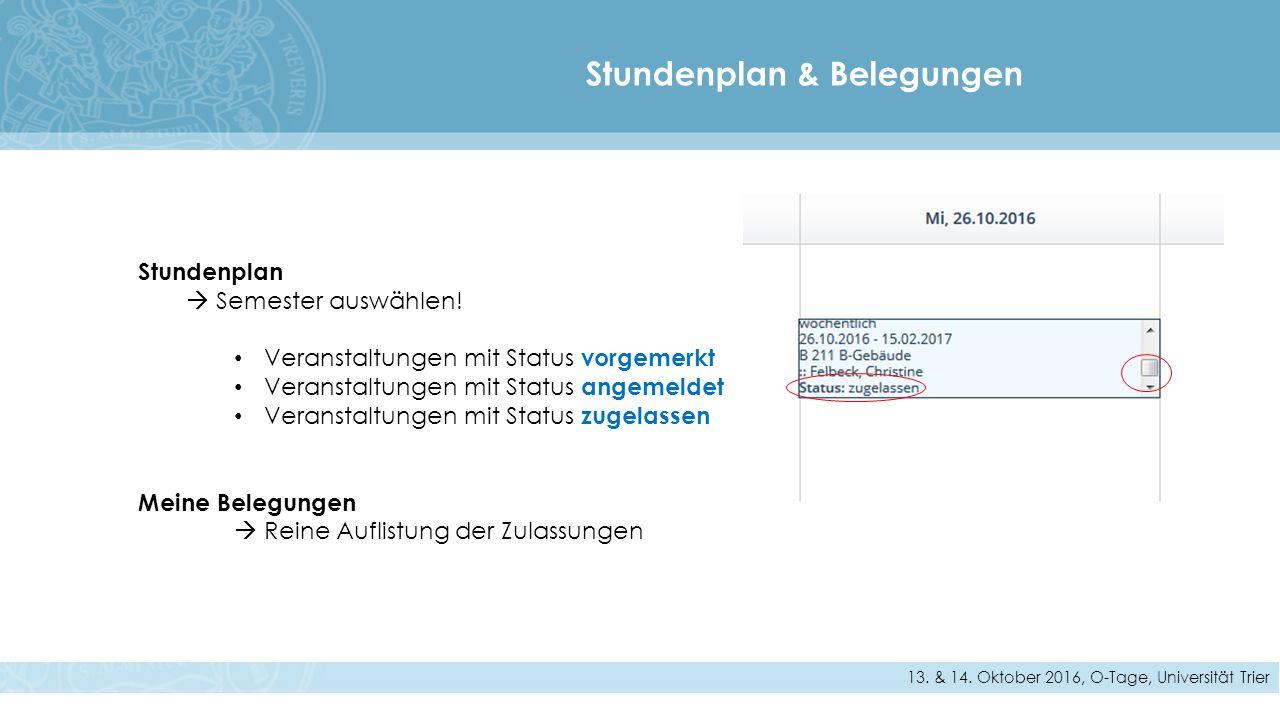 Stundenplan & Belegungen 13. & 14.