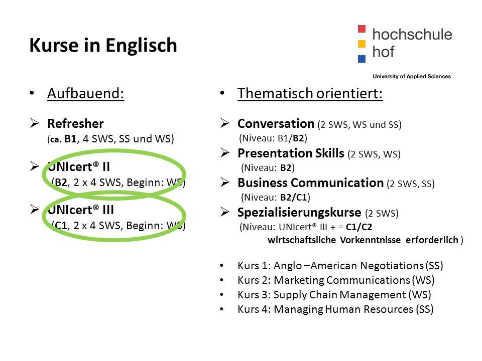 Kurse in Englisch Aufbauend:  Refresher (ca.