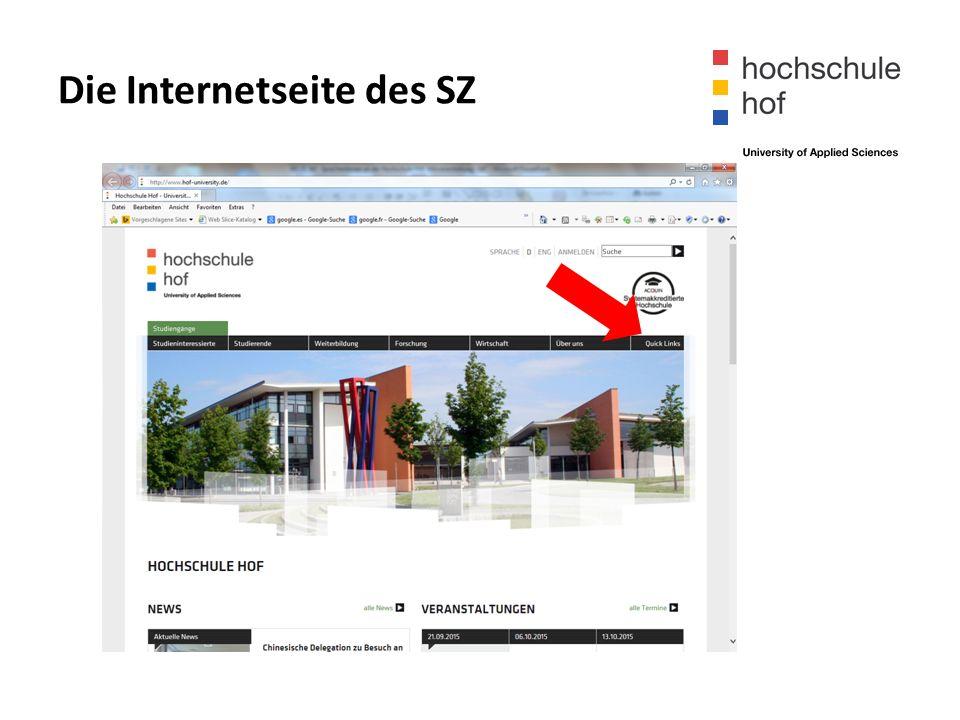"""Die Internetseite des SZ  """"online-Anmeldung"""