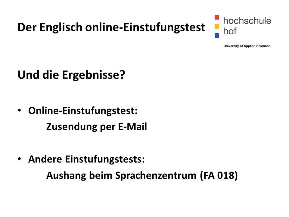Der Englisch online-Einstufungstest Und die Ergebnisse.