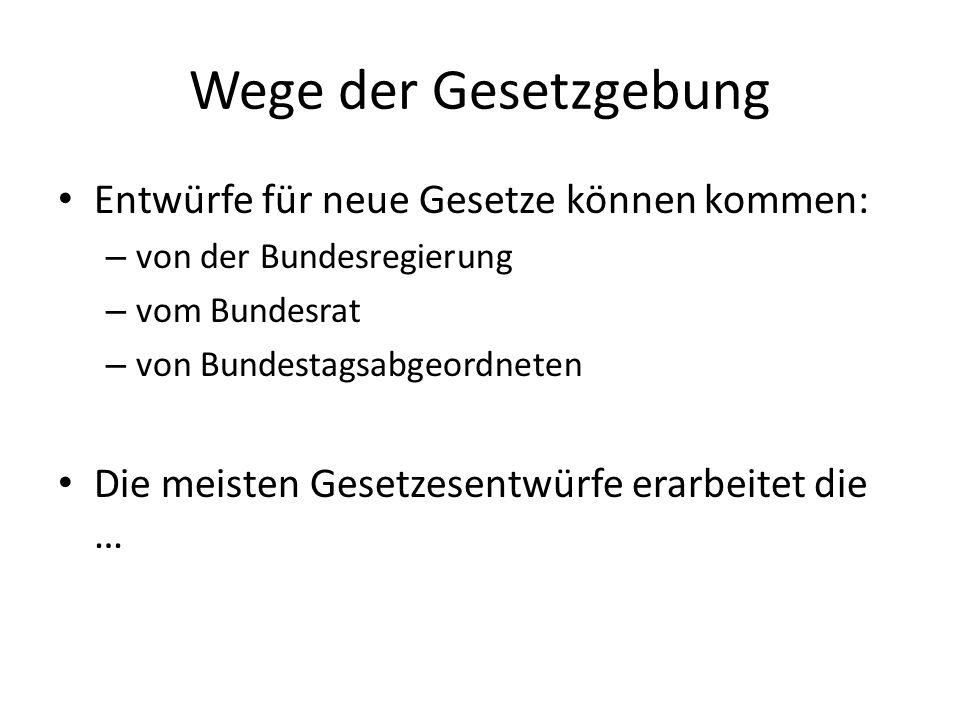Wege der Gesetzgebung Entwürfe für neue Gesetze können kommen: – von der Bundesregierung – vom Bundesrat – von Bundestagsabgeordneten Die meisten Gesetzesentwürfe erarbeitet die …
