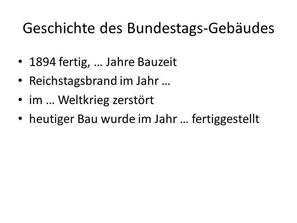 Geschichte des Bundestags-Gebäudes 1894 fertig, … Jahre Bauzeit Reichstagsbrand im Jahr … im … Weltkrieg zerstört heutiger Bau wurde im Jahr … fertiggestellt
