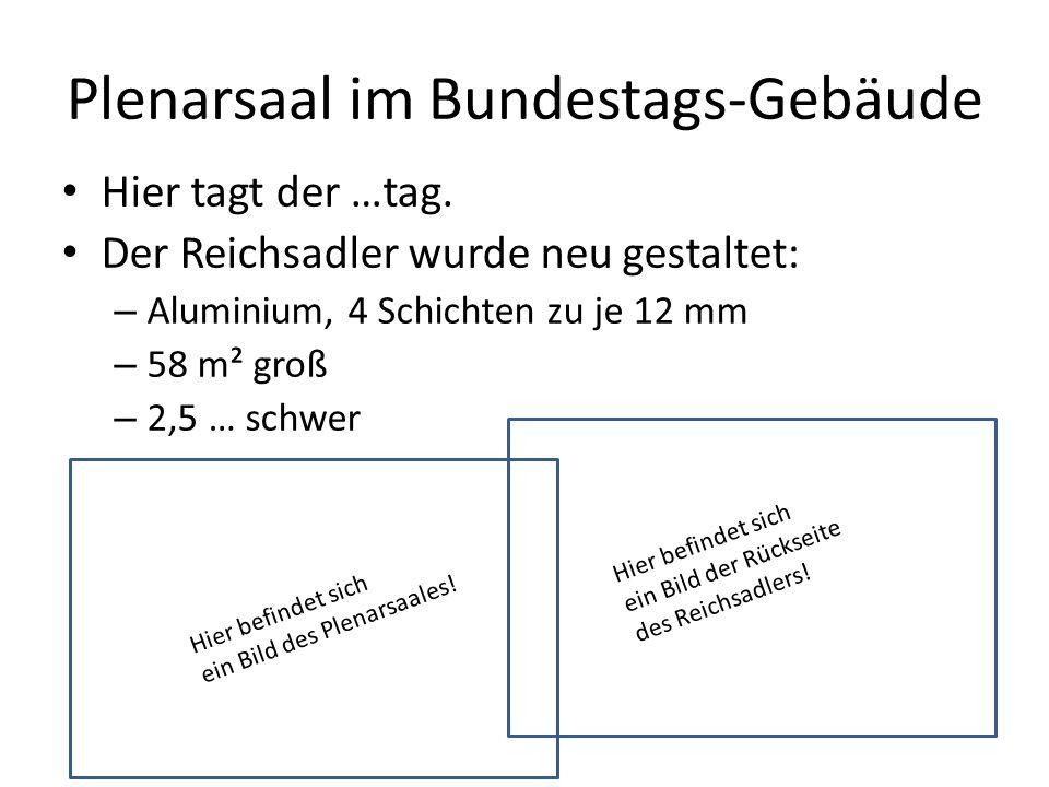 Plenarsaal im Bundestags-Gebäude Hier tagt der …tag.