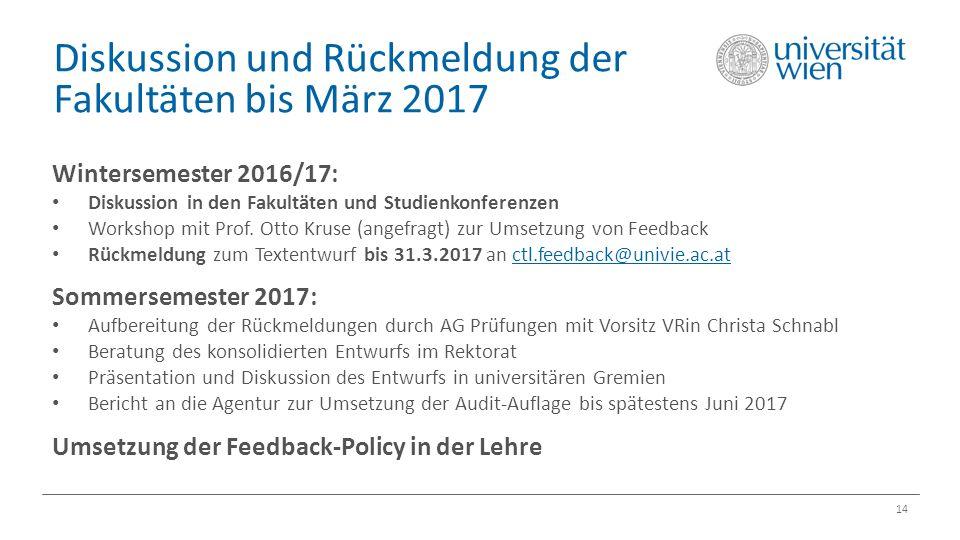 Diskussion und Rückmeldung der Fakultäten bis März 2017 14 Wintersemester 2016/17: Diskussion in den Fakultäten und Studienkonferenzen Workshop mit Prof.
