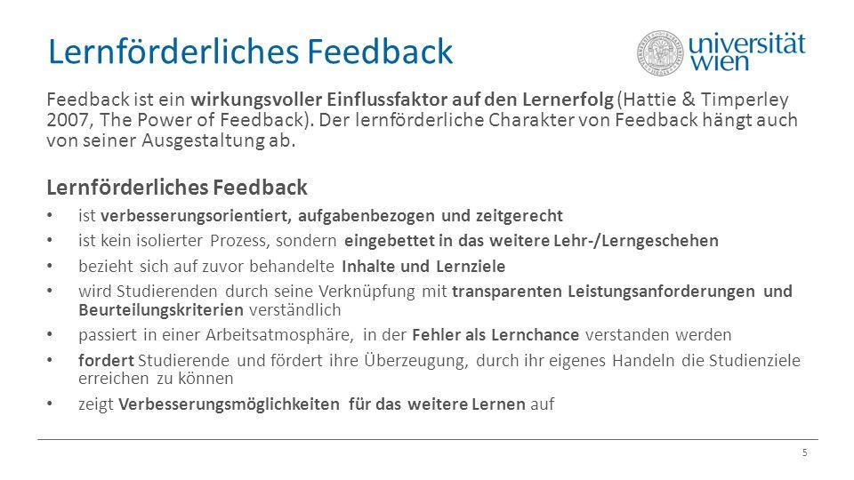 Lernförderliches Feedback 5 Feedback ist ein wirkungsvoller Einflussfaktor auf den Lernerfolg (Hattie & Timperley 2007, The Power of Feedback).