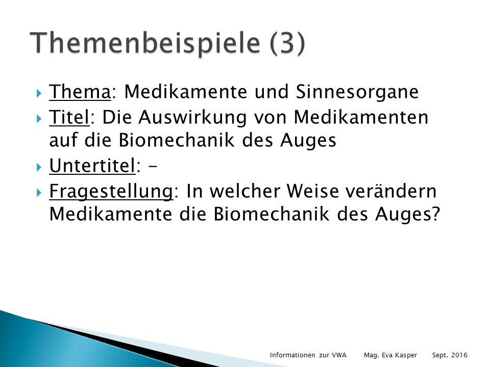  Thema: Medikamente und Sinnesorgane  Titel: Die Auswirkung von Medikamenten auf die Biomechanik des Auges  Untertitel: -  Fragestellung: In welcher Weise verändern Medikamente die Biomechanik des Auges.