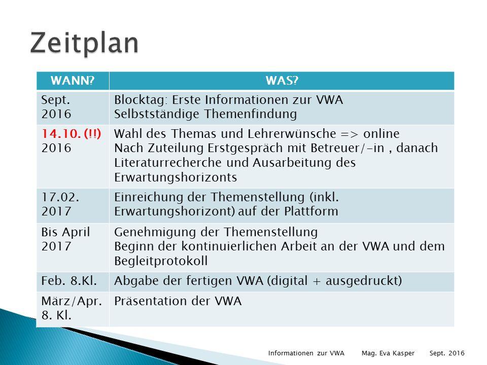 WANN WAS. Sept. 2016 Blocktag: Erste Informationen zur VWA Selbstständige Themenfindung 14.10.