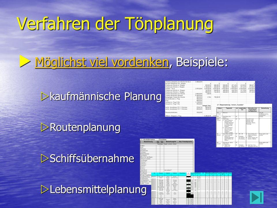 Verfahren der Tönplanung 12  Möglichst viel vordenken, Beispiele: Möglichst viel vordenken Möglichst viel vordenken  kaufmännische Planung  Routenplanung  Schiffsübernahme  Lebensmittelplanung