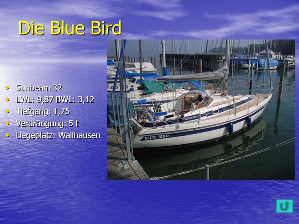 Sunbeam 32 Sunbeam 32 LWL: 9,87 BWL: 3,12 LWL: 9,87 BWL: 3,12 Tiefgang: 1,75 Tiefgang: 1,75 Verdrängung: 5 t Verdrängung: 5 t Liegeplatz: Wallhausen Liegeplatz: Wallhausen Die Blue Bird