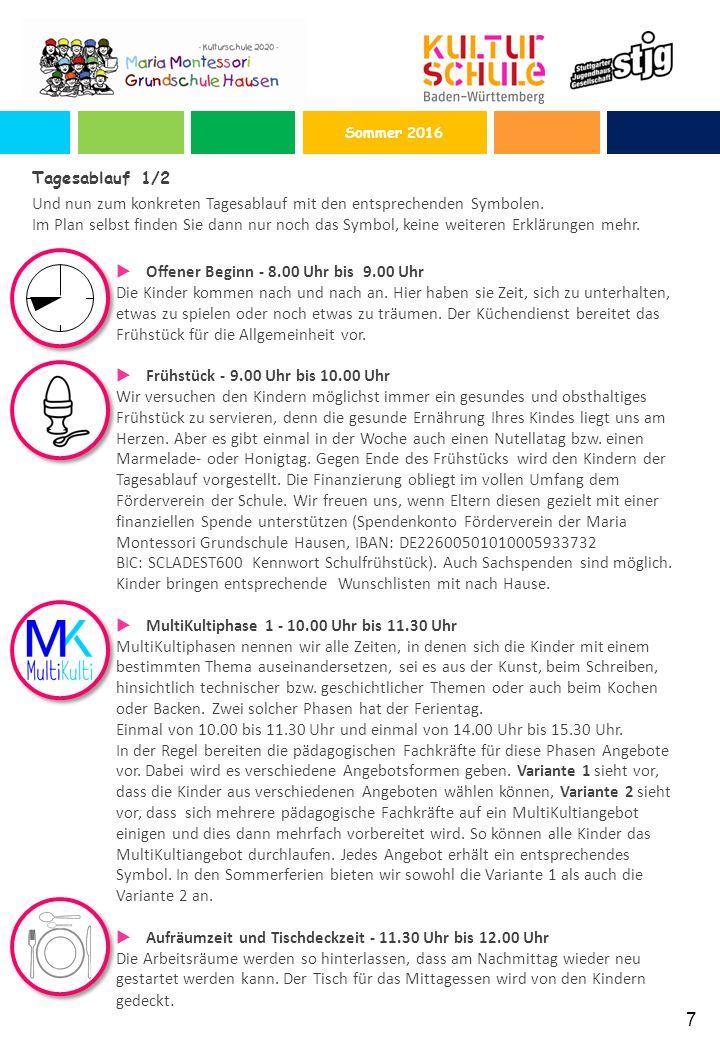 7 Tagesablauf 1/2 Und nun zum konkreten Tagesablauf mit den entsprechenden Symbolen.