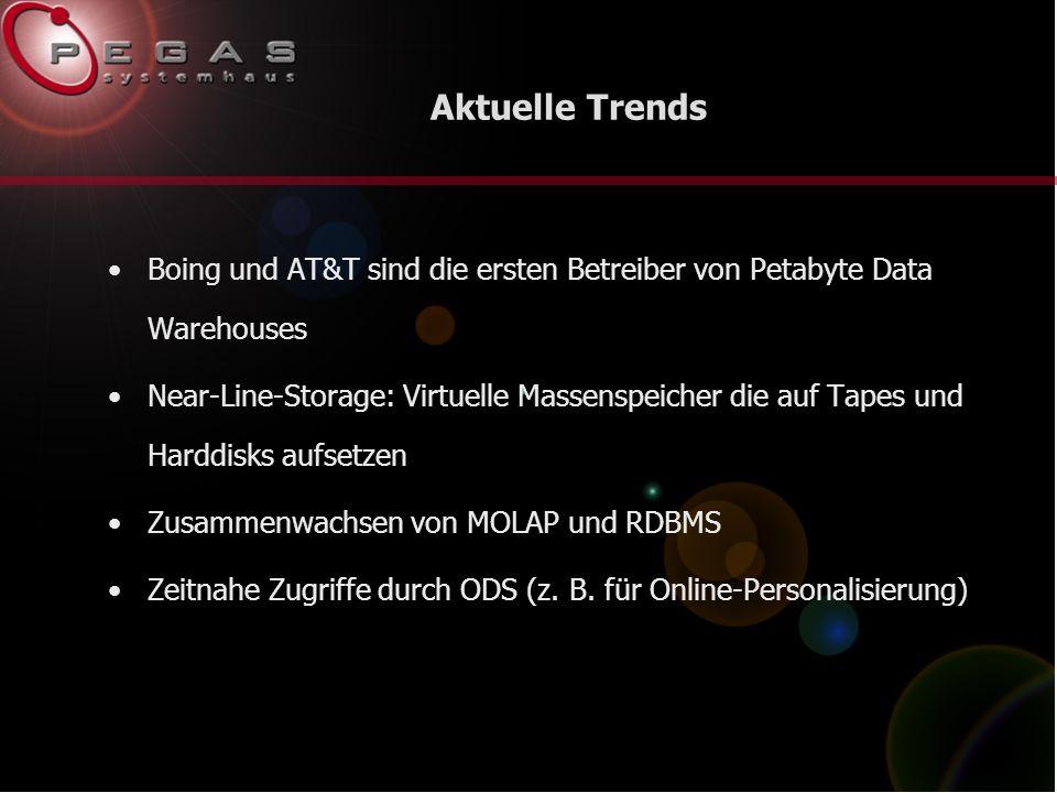 Aktuelle Trends Boing und AT&T sind die ersten Betreiber von Petabyte Data Warehouses Near-Line-Storage: Virtuelle Massenspeicher die auf Tapes und Harddisks aufsetzen Zusammenwachsen von MOLAP und RDBMS Zeitnahe Zugriffe durch ODS (z.