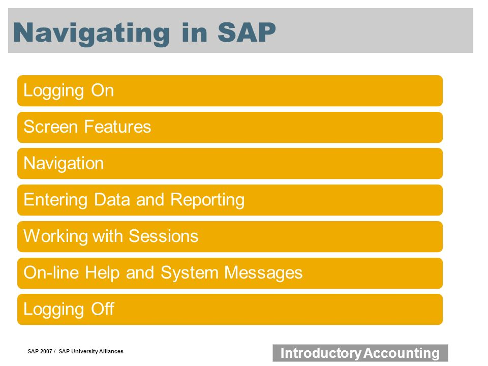 SAP 2007 / SAP University Alliances Introductory Accounting Navigating in SAP Logging OnScreen FeaturesNavigationEntering Data and ReportingWorking with SessionsOn-line Help and System MessagesLogging Off